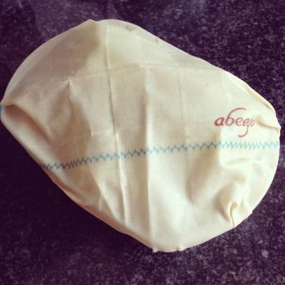 Medium Abeego wrap as a lid on a dish