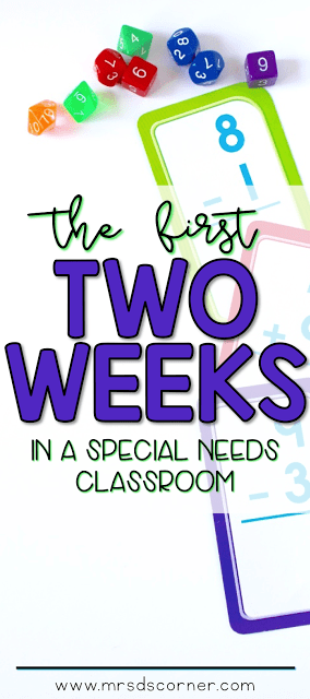 The first two weeks in a special needs classroom. Lesson plans, directions, assessments, and more. Blog post at Mrs. D's Corner.