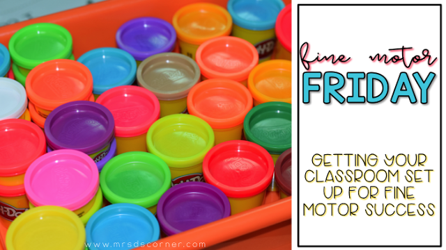 Fine motor skills are the coordination of small muscles in a person's hands, fingers and forearms. These skills include things like picking up a marker off of the floor and holding a pencil to write. Learn more about starting Fine Motor Friday in your classroom. Blog post at Mrs. D's Corner.