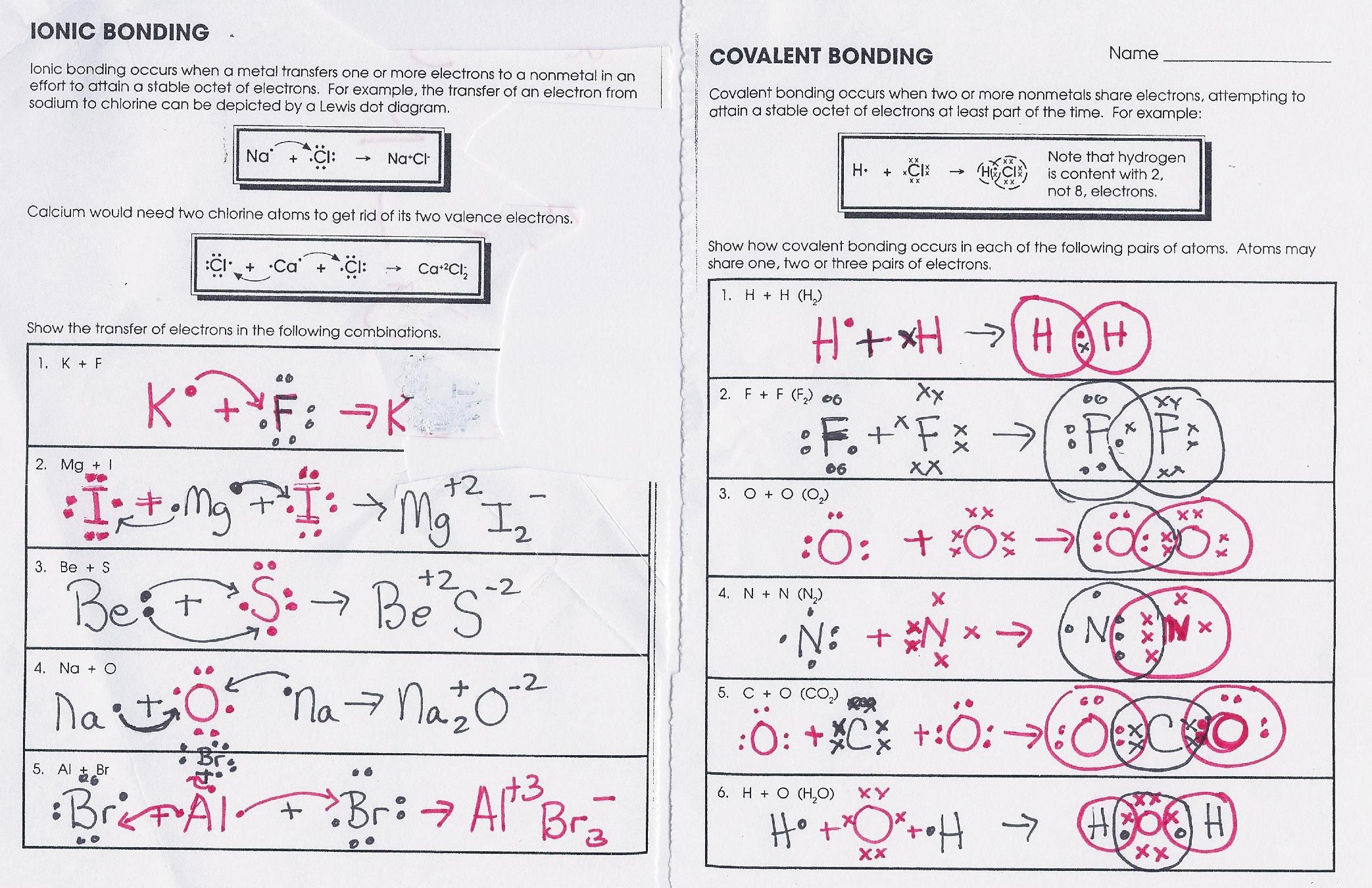 Bonding Worksheet Answers