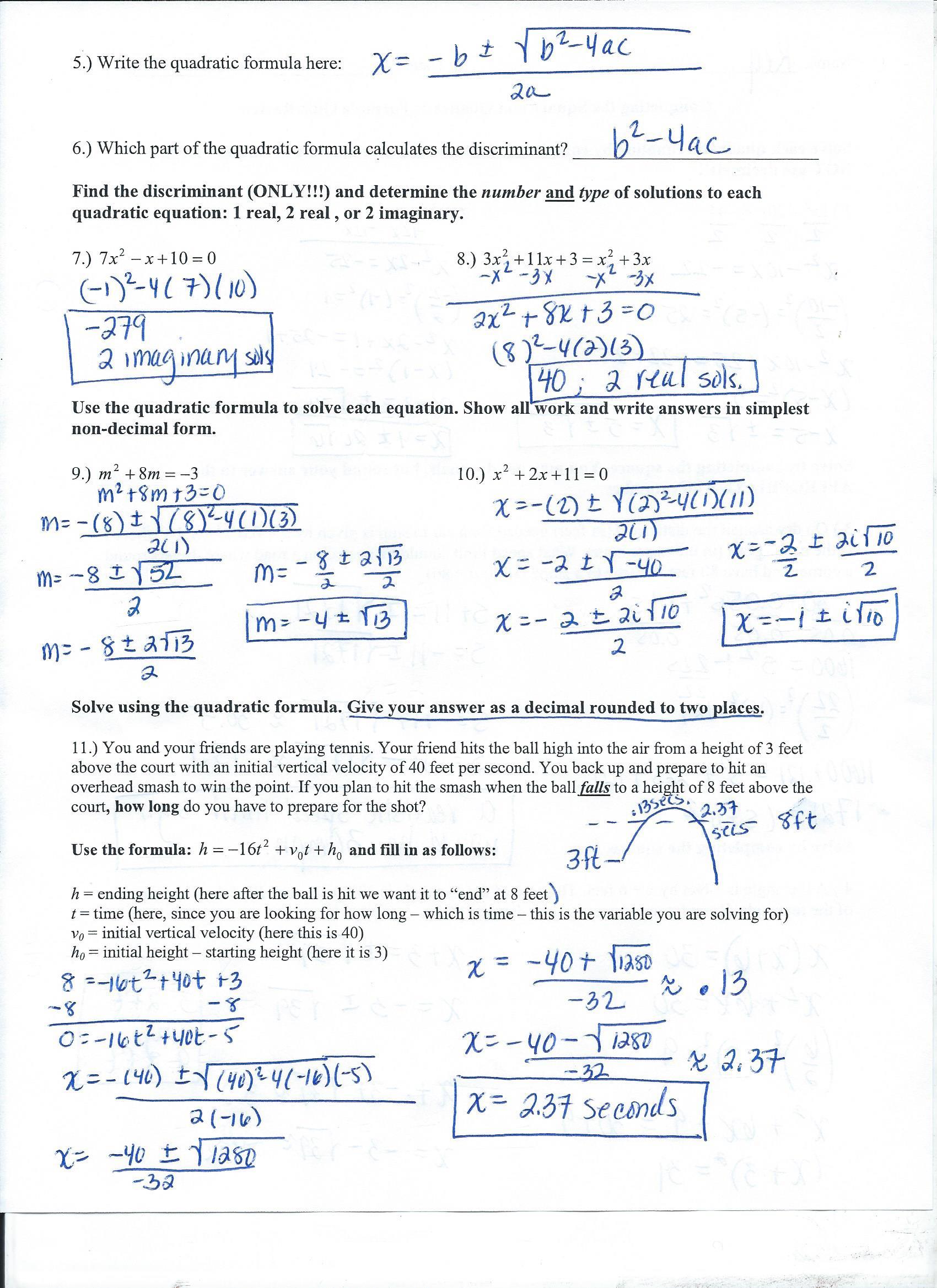 Algebra 2 College Prep