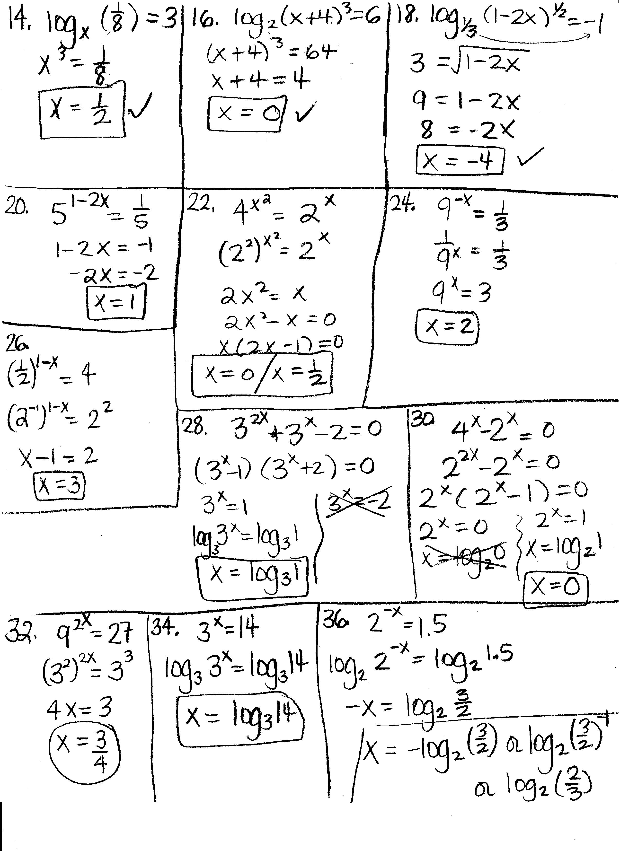 Fractional Exponent Equations Worksheet