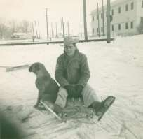 Dad, sledding and ice skating, Midwest, WY 1960's