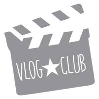 A logo for our Vlog club_a film clapper board with the title Vlog club_this post is my top five favourite books_mrs H's favourite things