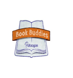"""Parragon Book Buddies logo_ a hand drawn blue book with the Parragon logo on it and a banner with """"book buddies"""" written on it_ a Parragon Book Buddies review_Mrs H's favourite things"""