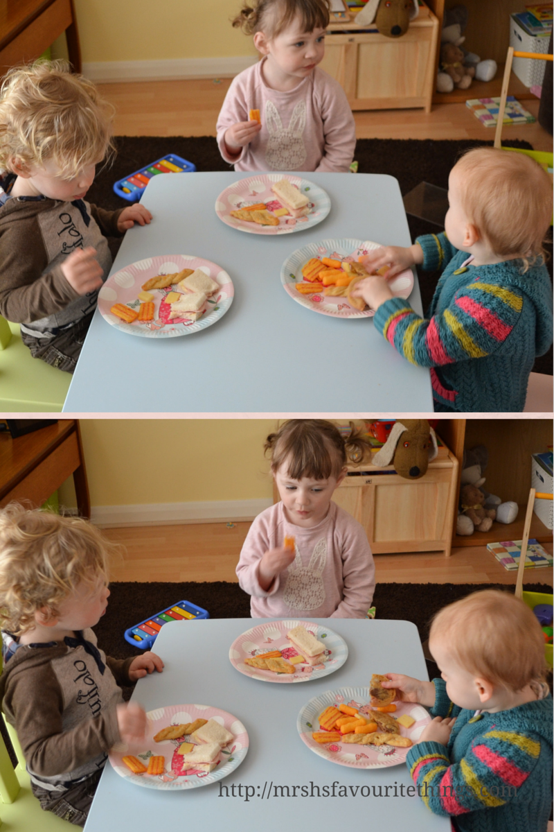 Three young children sitting around a table eating a party lunch from princess party plates_My Captured Moment_a special afternoon tea party_Mrs H's favourite things