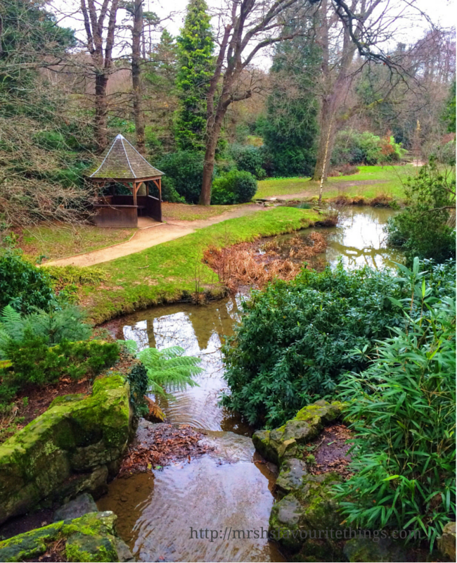A beautiful picture of a river and waterfall with a small gazebo in a beautiful park _ Days out in the winter sunshine - My Captured Moment_Mrs H's favourite things