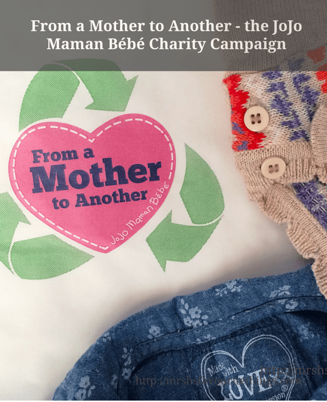 "Two little girl outfits lie in a piece of paper which includes the logo for the From a Mother to Another campaign being run by JoJo Maman Bébé - also contains the title ""From a Mother to Another - the JoJo Maman Bébé Charity Campaign""_Mrs H's favourite things"