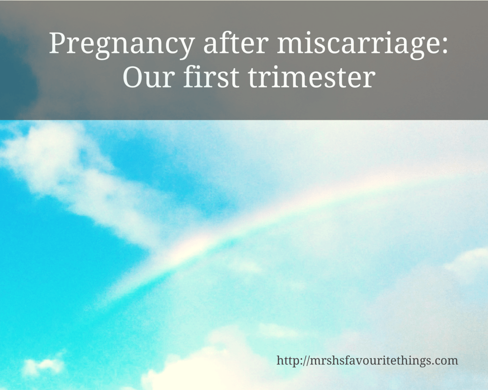 "An image of a bright blue sky dotted with a few fluffy clouds and a rainbow with the title ""Pregnancy after miscarriage: Our first trimester"" _ Mrs H's favourite things"