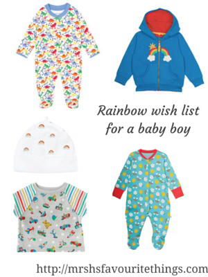 """A collection of clothing for a new born baby boy featuring rainbows or beautiful bright rainbow colours _ includes clothes from Frugi, Jojo Maman Bebe and Cath Kidston - with the title """"Rainbow wish list for a baby boy"""" - Mrs H's favourite things"""