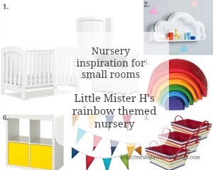"A wish list for Little Mister H's small nursery filled with white furniture and yellow and rainbow accessories - featuring products from Urbane by Boori, Not on the High Street, Little Acorns to Mighty Oaks, IKEA and Great Little Trading Company. Includes the blog post title ""Nursery inspiration for small rooms: Little Mister H's rainbow themed nursery"" _ Mrs H's favourite things"