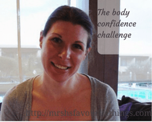 """A pretty brunette lady sits in a restaurant with her head tilted to one side and smiling _ includes the title """"The body confidence challenge"""" - Mrs H's favourite things"""