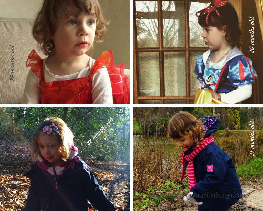Sharing four photographs of our daughter taken between the ages of 29 months old and 32 months old - Little Miss H at three years old - Mrs H's favourite things