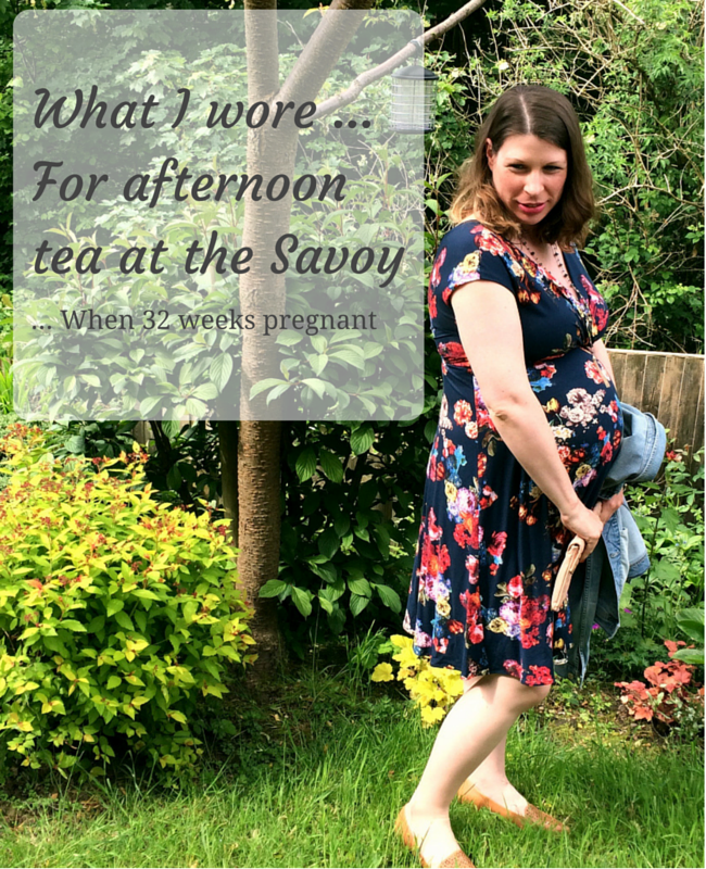 """A photograph of a pregnant lady standing in a garden wearing a floral maternity dress from Tiffany Rose _ includes the title """"what I wore ... for afternoon tea at the Savoy ... when 32 weeks pregnant"""" _ Mrs H's favourite things"""