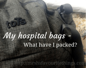 "A photograph of two packed hospital bags_ the first is the toTs Voyage Changing Bag in Dark Grey Melange and the second (just seen) is from Cath Kidston _ includes the title ""My hospital bags - what have I packed?""_Mrs H's favourite things"