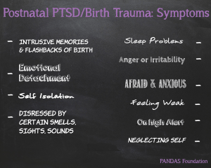 A black chalkboard featuring the symptoms for Postnatal PTSD and Birth Trauma - postnatalptsdchalk-300x240 - Perinatal mental health #PNDAW16 - It's okay not to be okay - Mrs H's favourite things