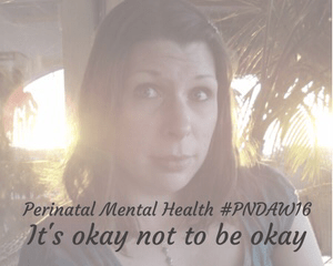"A faded photograph of a young woman looking wistful as the sun sets in a tropical setting behind her - Includes the title ""Perinatal mental health #PNDAW16 - It's okay not to be okay"" - Mrs H's favourite things"