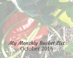 "A faded photograph of a large pumpkin growing surrounded by leaves - with the title ""My Monthly Bucket List - October 2016"" - Mrs H's favourite things"
