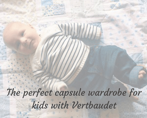 "A faded photograph of a three month old baby boy wearing a white and navy breton jumper and a pair of jeans_includes the title ""The perfect capsule wardrobe for kids with Vertbaudet""_Mrs H's favourite things"