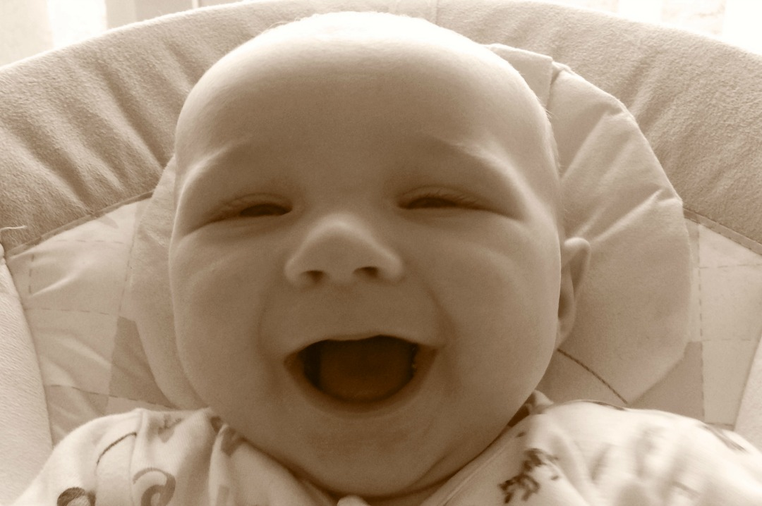 A sepia tinted photograph of a baby boy sitting in a bouncing chair and smiling _Little Mister H at four and a half months old _ Mrs H's favourite things