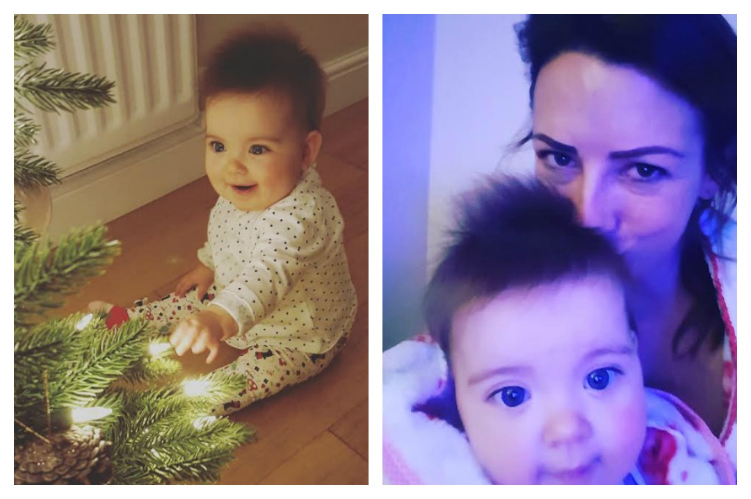 A photo collage of 2 photographs. One is a photograph of a little girl, the rainbow baby Poppy, sitting and starring at the pretty lights on a Christmas tree. The other is a selfie of Fran cuddling and kissing the head of her rainbow baby Poppy. My Rainbow Baby featuring Back with a Bump - Mrs H's favourite things