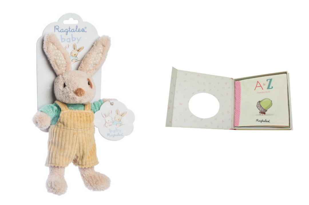 The brand photographs of the A to Z Alphabet Book and the Rabbit in Dungarees Baby Rattle both from the company Ragtales - Wicked Uncle Review - Finding the perfect baby gift for a nine month old baby boy - Mrs H's favourite things