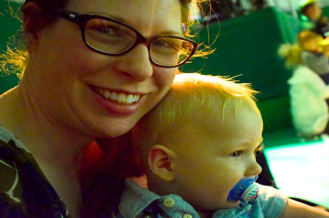 """A photograph of a mother holding her baby boy whilst he is completely captivated by watching a performance of In the Night Garden Live - photograph from the post """"In the Night Garden Live - a review"""" from Mrs H's favourite things"""
