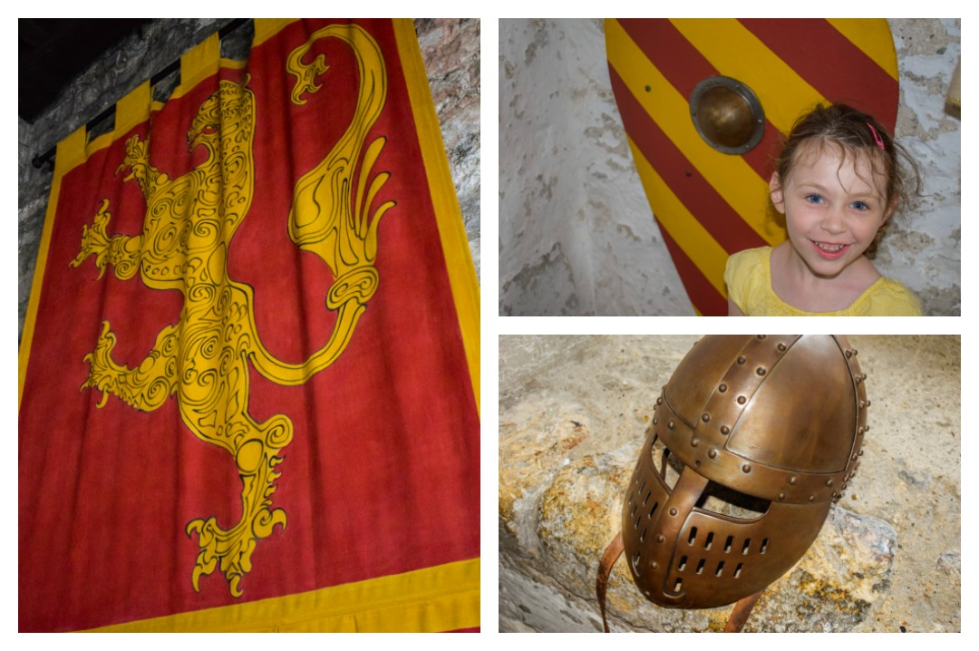 A photograph collage of a banner, a shield with Little Miss H standing in front of it and a helmet that can be found in the Great Tower at Dover Castle - A Day at Dover Castle with the Quinny Zapp Flex Plus - Mrs H's favourite things