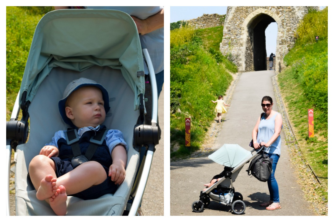 A photograph of a mother on a day trip to Dover Castle in Kent pushing her baby boy in a Quinny Zapp Flex Plus in Frost on Grey - A Day at Dover Castle with the Quinny Zapp Flex Plus - Mrs H's favourite things