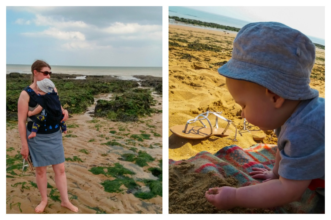 A collage of photographs - one of a mother baby wearing her son and standing on a beach and looking out to sea - the second photo is of a baby boy sitting on a beach wearing a sun hat and eating sand - Our week in Broadstairs - Mrs H's favourite things