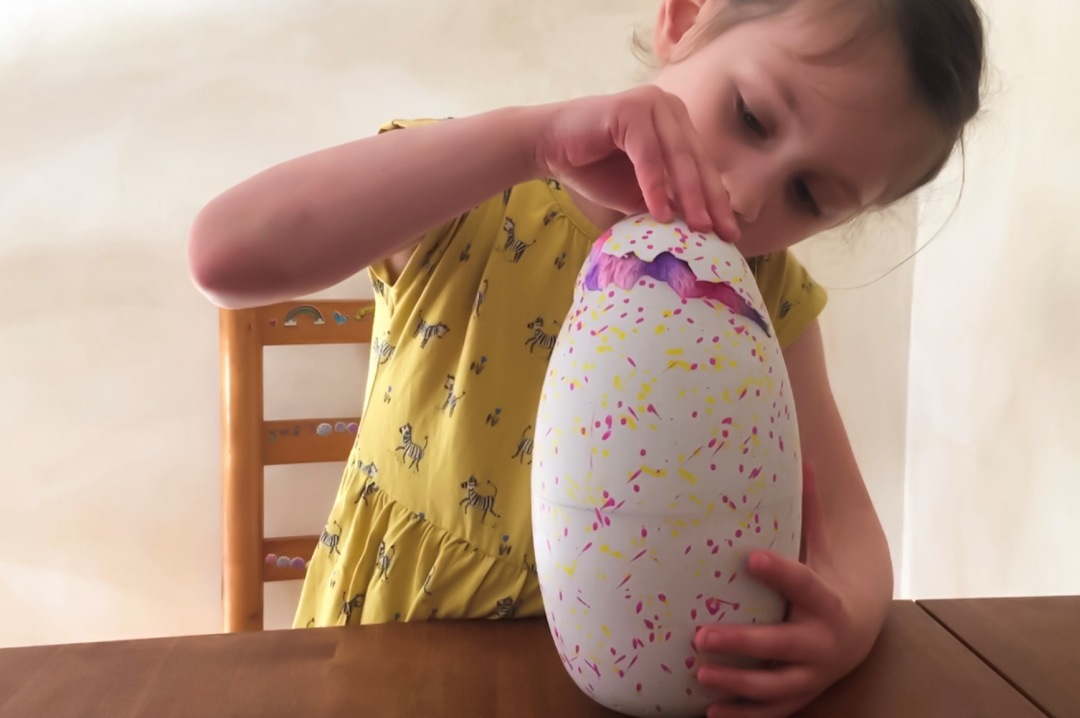 A little girl with her Hatchimals Surprise egg she is looking her excited as the egg has begun to hatch and we have the first peek of the Hatchimal inside and it has pink and purple fur - A little four year old girl with her Hatchimals Surprise egg during the hatching process - she is very excited about what the surprise is inside the Hatchimals Surprise - Reviewing the brand new Hatchimals: Hatchimals Surprise - Mrs H's favourite things