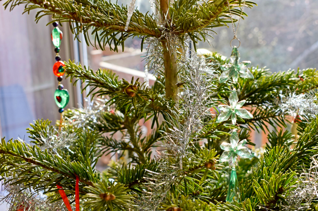A photograph of decorations on a Christmas tree - including two long glass Christmas tree ornaments - Photographs of decorating our Christmas tree - Our Christmas Tree Day - Mrs H's favourite things