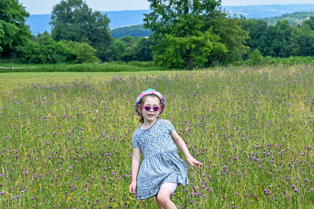 A photograph of a little girl on a summer day running through a field of wild flowers - Five Reasons I'm Looking Forward to Summer - Mrs H's favourite things