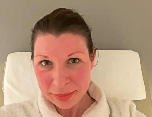 A photograph of a young woman in a white bath robe relaxing at a spa - Our Weekend Happy #5 - A Beautiful Manicure, staying with my parents & a Disney movie - Mrs H's favourite things