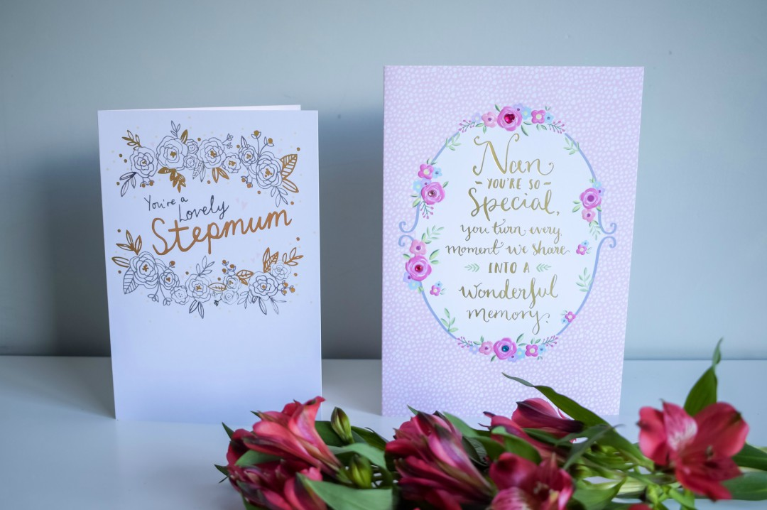 A photograph of two Hallmark Mother's Day cards - one is for Nan and one is for a stepmum - Mother's Day Gift List - Treats for the Mother in your Life - Mrs H's favourite things