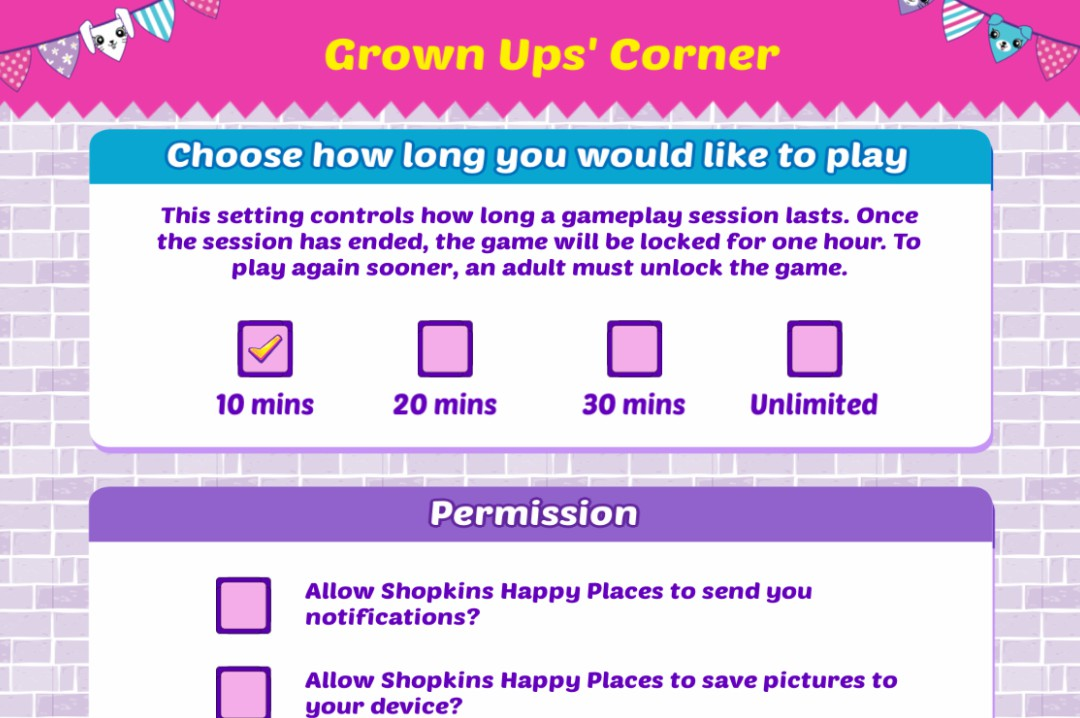 A screenshot of the Grown Ups' Corner of the Shopkins Happy Places App created by Kuato Studios and Moose Toys - Shopkins Happy Places App - A review - Mrs H's favourite things