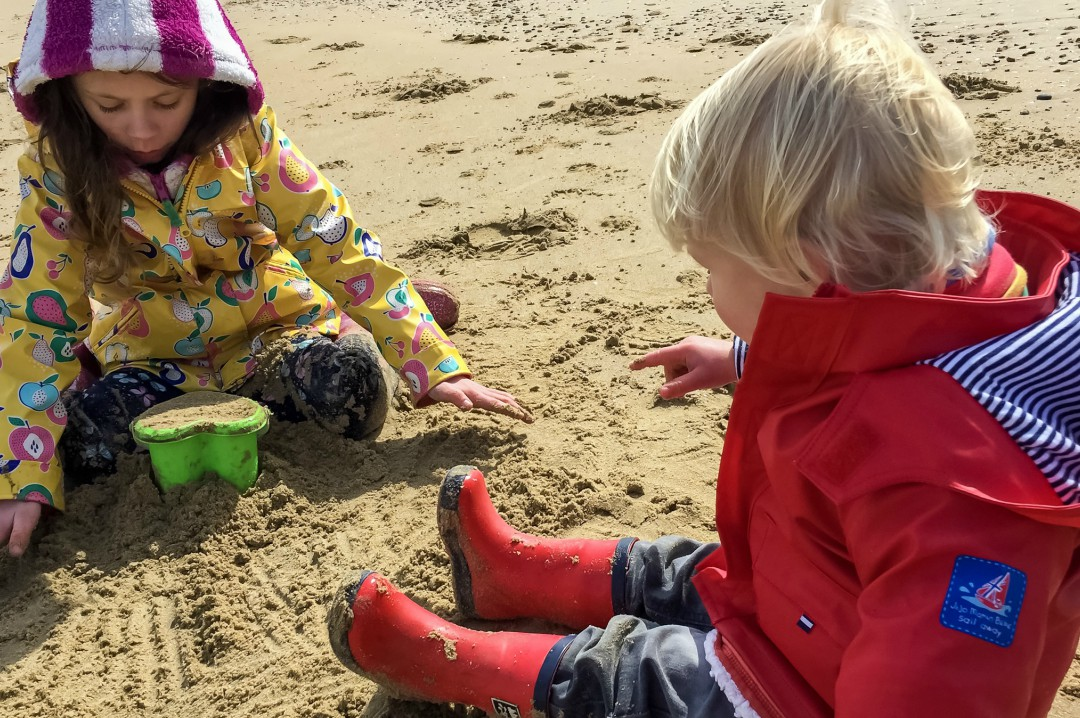 A little boy and a little girl building sand castles on the beach on Camber Sands - Our Weekend Happy - Pottering, A Day at the Beach & Seeing Auntie B