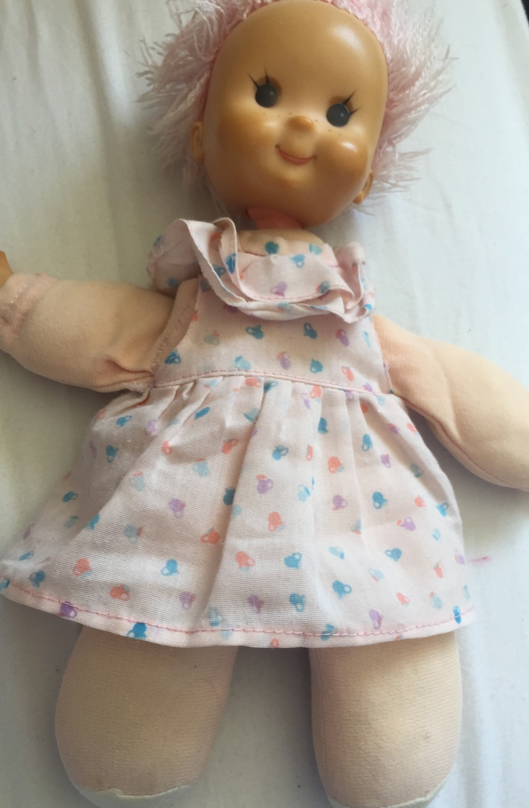 A photograph of Matilda Moppet my most beloved childhood toy that now belongs to Little Miss H - Store Your Memories With Bed Guru Ottoman Beds - Mrs H's favourite things