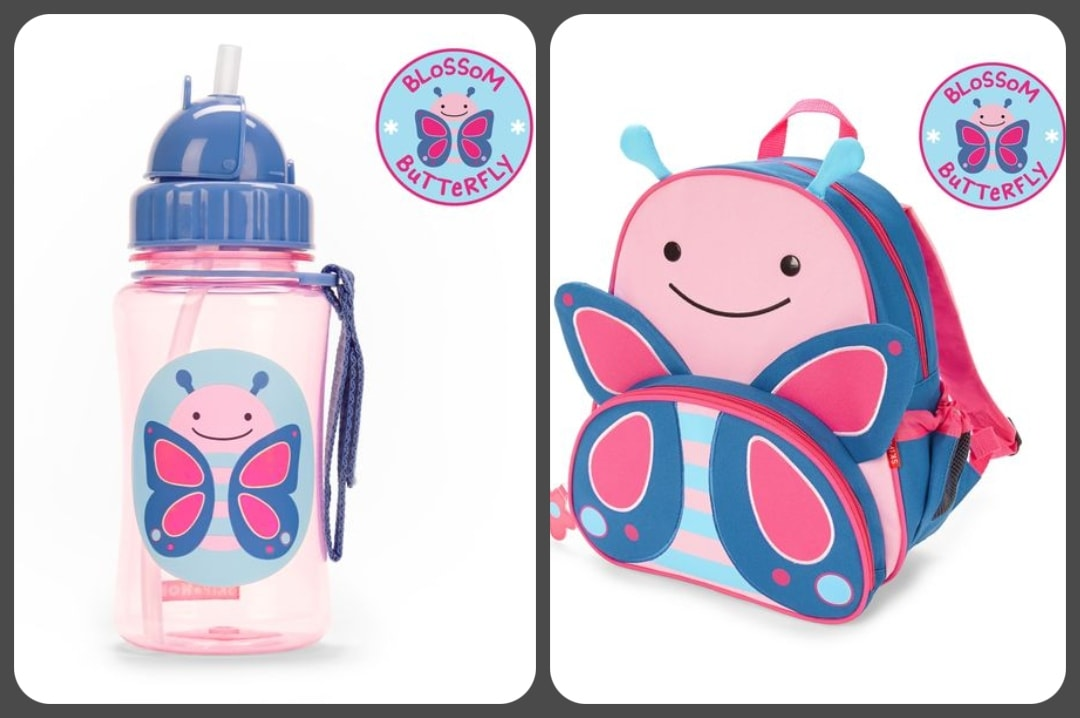A photograph of the Skip Hop Zoo Little Kid Backpack in Blossom Butterfly and also the Skip Hop Zoo Straw Bottle in Blossom Butterfly - Our First Family Festival And Our Family Festival Essentials - Mrs H's favourite things