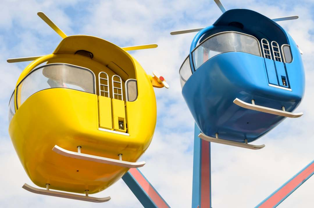 A photograph of some of the helicopters that are part of the ride Miss Rabbit's Helicopter Ride at Peppa Pig World in Paultons Park - Paultons Park and Peppa Pig World - A Review - Mrs H's favourite things