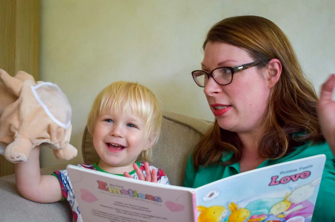 A photograph of a mother and her toddler son enjoying the activities from Skylark Learning's My First Emotions Box - My First Emotions - The Parent's Guide - Mrs H's favourite things