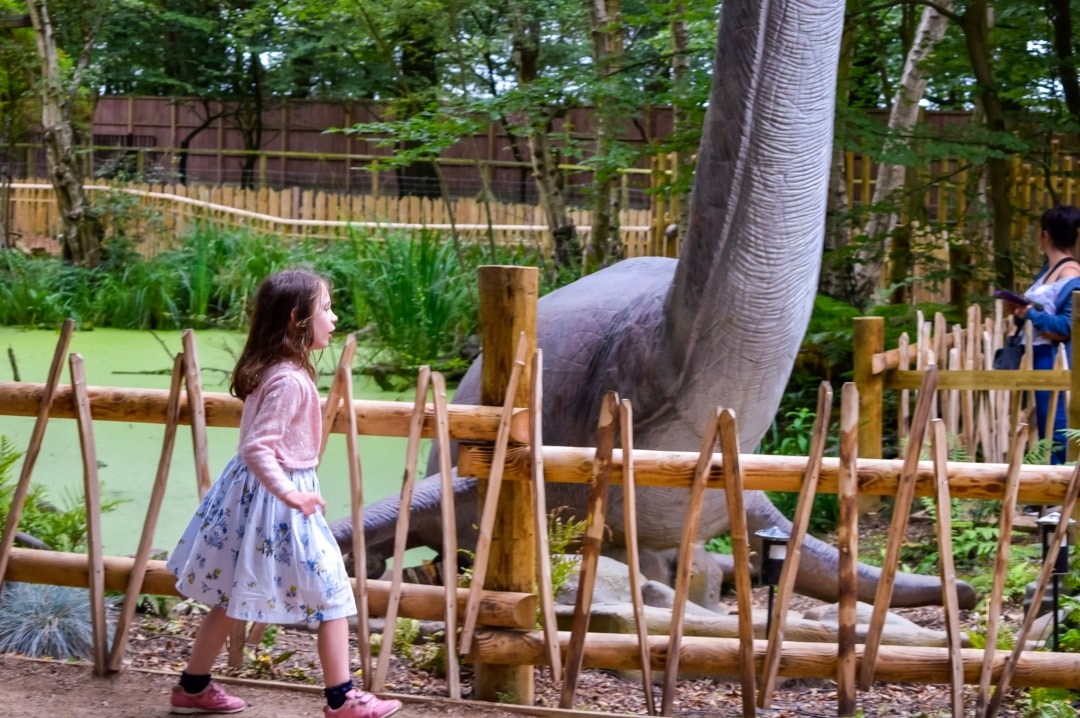 A photograph of a little girl in the World of Dinosaurs at Paradise Wildlife Park - Paradise Wildlife Park - A Review - Mrs H's favourite things