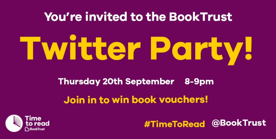 A banner for the Time To Read BookTrust campaign Twitter party - Taking Time To Read With Little Miss H And The BookTrust - Mrs H's favourite things