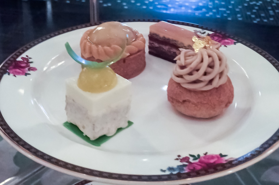 A photograph of the patisseries served at the afternoon tea at the Langham Hotel in London - Finding Happiness and Chasing Rainbows January 2019 - Mrs H's favourite things
