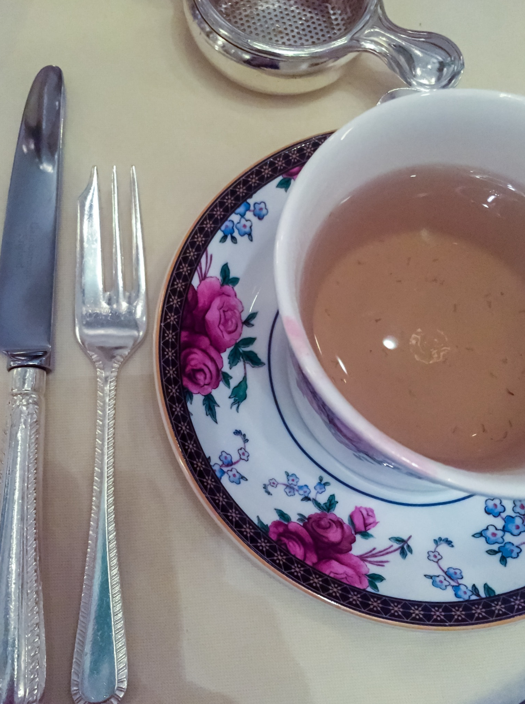 A photograph of the tea served at the afternoon tea at the Langham Hotel in London - Finding Happiness and Chasing Rainbows January 2019 - Mrs H's favourite things