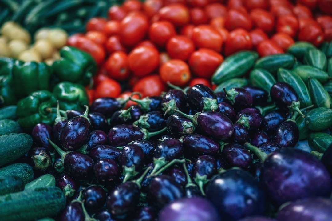 A photograph of some tomatoes, aubergine, green peppers and courgettes - Healthy Eating For Wellness: How To Make Your Veg Taste Amazing! - Mrs H's favourite things