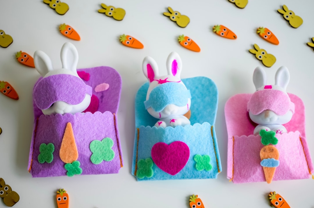 A photograph of the Fuzzikins Bedtime Bunnies all tucked up in their decorated beds wearing their sleeping masks - Fuzzikins Bedtime Bunnies - Mrs H's favourite things
