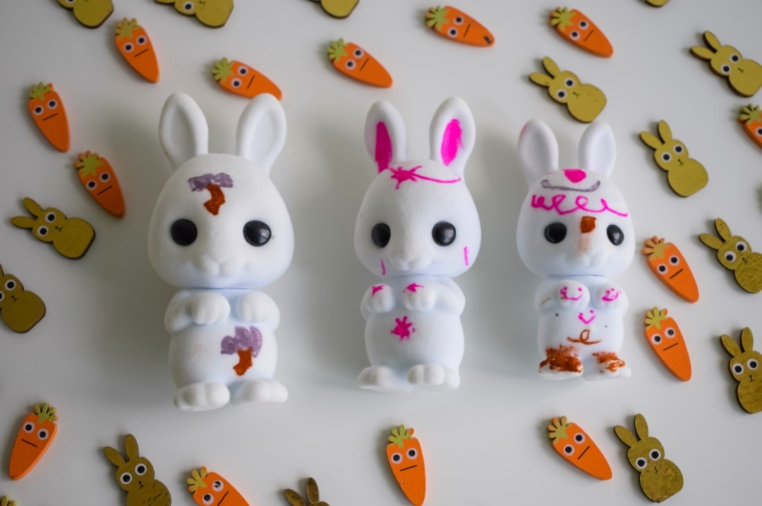 A photograph of the three Fuzzikins Bedtime Bunnies with their designs drawn on them - Fuzzikins Bedtime Bunnies Review - Mrs H's favourite things