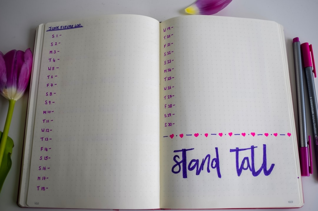 A future log for June from a monthly bullet journal spread - Bullet Journal Monthly Set-Up For May - Mrs H's favourite things