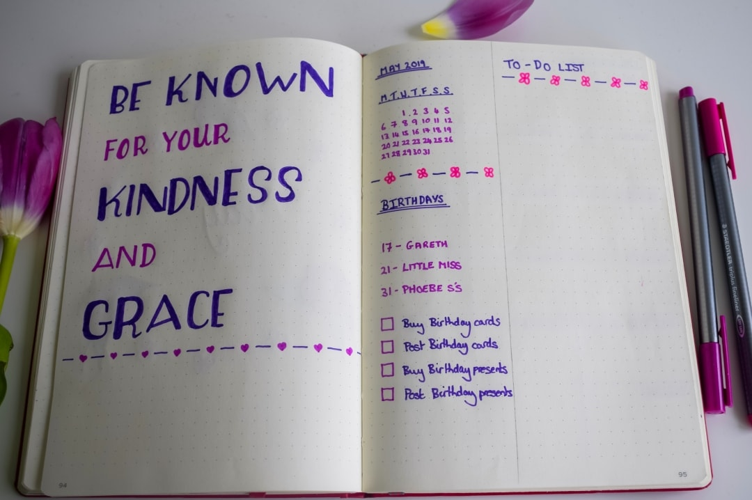 A quotation and to-do list spread as part of a monthly set-up of my bullet journal - Bullet Journal Monthly Set-Up For May - Mrs H's favourite things